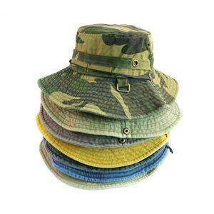New Gorro Camouflage Bucket Caps Fishing Outdoor String Hunting Hats Wash Denim Boonie Hats Men Chapeau