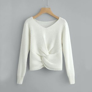 New Fashion Casual Women Sweaters Long Sleeve Solid Color V neck Sexy Cross Knotted Panel Sweater Ladies Female Pullovers S!A65