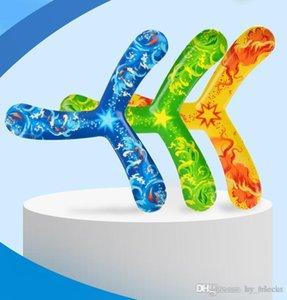 Tri Bladed Boomerang crianças ao ar livre Esporte Brinquedos coloridos Presentes Flying Saucer descompressão Retornando Dart macio brinquedos para meninos Crianças 04