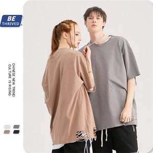 BE men's clothing | 2020 spring and summer Tide brand High Street cut lazy style oversized loose solid color couple T-shirt PSV8