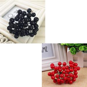 200pcs Simulação Artificial Blueberry Fruit Berries Arbusto vermelho + preto