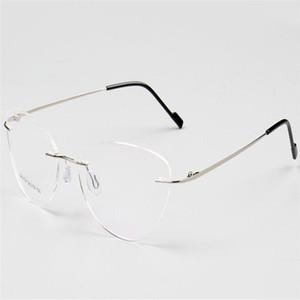 MONGOTEN Мода Rimless Унисекс сплав Предписания объектива Оптический очки кадров Pink Gold Anti-усталостной Presbyopia Reading Glasses