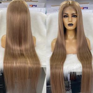 """Custom Color 40"""" e 45"""" Full Lace Wig cabelo comprido cabelo Virgin"""
