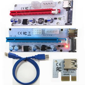 3 in 1 4 pin 6 SATA Molex Power Supply pci-e PCI 1x to 16x express riser card with LED light VER 008S For Mining machine