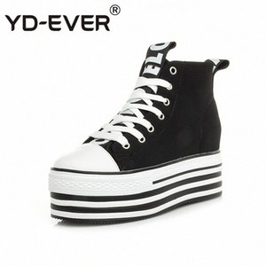 YD-EVER 9cm genuine leather women boots super high heel platform wedge canvas shoes height increasing lace up casual sneakers am88#