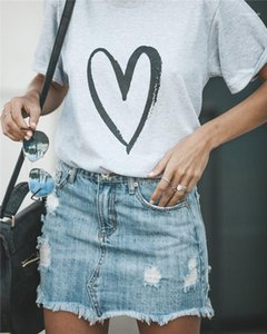 Magliette lose Tuch Art und Weise beiläufige Donna Tees Herz-Liebe-Drucken Frau-T-Shirt Designer Sommer Short Sleeve