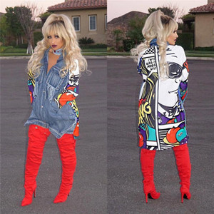 Cool Cartoon Printed Loose Panelled Long Jackets Fashion Womens Coats Denim Designer Jackets Women Street Style