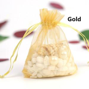 100pcs gioielli borse sacchetto regalo organza imballaggio partito trasparente Drawable Wedding Sacchetti presente gioiello caramelle 7x9cm