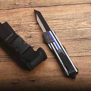 Nouveau drapeau bleu poignée A161 Autao Couteau tactique 440C Two Tone Tanto point lame alliage Zn-Al poignée Couteaux EDC avec sac en nylon