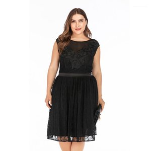 Autumn Elegant Evening Formal Sleeveless Crew Neck Midi Dresses Womens Fashion Party Dresses Women Plus Size Dresses Lace Skirt