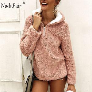 Nadafair casual de invierno la piel de imitación de las mujeres con capucha de felpa de lana caliente de gran tamaño con capucha 2020 señoras del otoño con capucha Bangtan
