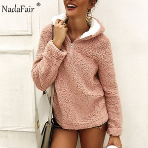 Nadafair 겨울 캐주얼 가짜 모피 후드 티 여성 봉제 따뜻한 양털 오버 사이즈 스웨터 2020 가을 여성 풀오버 Bangtan