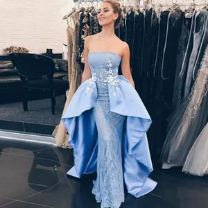Charming Strapless Light Sky Blue Overskirt Lace Prom Dresses Appliques Peplum Women Formal Evening Gowns Girls Pageant Dress Custom Made