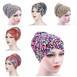 Müslüman Turban Kadınlar Leopard Baskı Türban Çiçek Headwrap Kemo Şapka Cap Moda hicap kasketleri Uyku Cap Saç Aksesuarları DHB1306