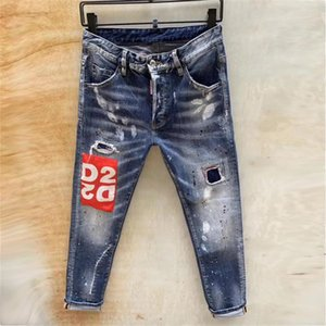 mens denim jeans black ripped pants Spring and Autumn skinny Stitching broken stlye bike motorcycle rock revival Stylist jeans