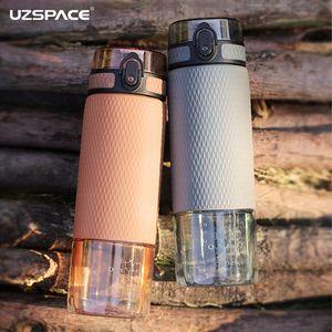 Uzspace 350ml / 500ml garrafa chá de frutas Água de silicone caso portátil de plástico Moda Outdoor Sports minha bebida da garrafa de água livres de BPA T8190627