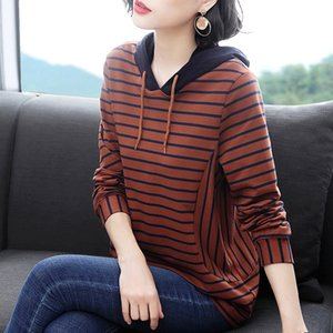 Hot Sale spring and autumn new Coat sweater t-shirt sweater large size women's loose striped long sleeve T-shirt women's mother's