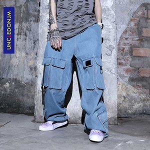 UNCLEDONJM Multi-Bag Джинсовая Сыпучие Bib В целом американский стиль Увеличенные Wide-ноги штаны Safari Стиль Джинсы K8834