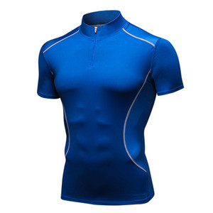 High Spandex Men's Running T-Shirts Quick-Dry Tights Fit Sport T-Shirts Fitness Shirt Sleeve Soccer Shirts Men's Jersey Sports