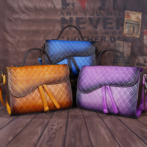 Calidad Cruz-cuerpo Vintage Leather 2020 Alto Estilo Alto Estilo En relieve Retro Color Bolsa Moda Mano Mano New Womens Plaid Hombro Full-Grain Mabu