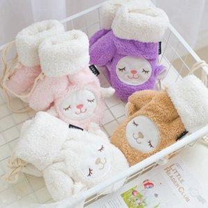 Зима Мультфильм Животные Lanyard Перчатки Теплые Stretch Knit моды Популярные Утолщение Полный перчатки пальцев