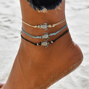 Turtle Shaped Charm Rope String Anklets Modyle Summer Beach For Women Ankle Bracelet Woman Sandals On the Leg Chain Foot Jewelry