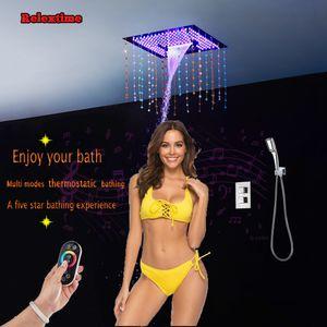 크리스탈 석영 블루투스 LED 음악 천장 샤워 헤드 욕실 샤워 세트 다기능 숨어서 온도 조절 샤워 믹서 탭 HJ4201