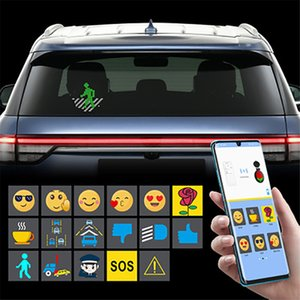Bluetooth RGB 7-color LED Car light up display sign emotion programmable message board built-in battery IOS Android and voice control