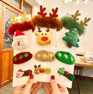 Sıcak Stil Noel Saç Bandı Broş 4 Adet / Seti Noel Hediyesi Broş Saç Stokta Lastik Bant Noel Süsler Klip