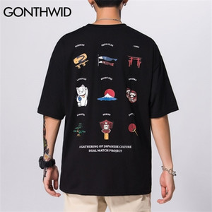 GONTHWID Cultura giapponese di Lucky Cat Stampa magliette Harajuku Hip Hop casuale Streetwear magliette di modo degli uomini manica corta T superiori 0924