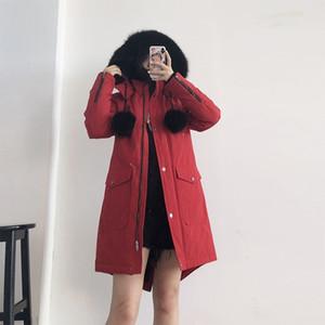 Off-season 2020 new detachable hat fox fur collar dovetail slimming mid-length scissors down jacket for women