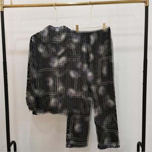 Patrón del gato ropa de dormir unisex Primavera Otoño personalidad suave Hombres Mujeres pijamas Set regalo del día de Navidad para el amante Casa Ropa