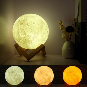 Three-color touch colorful remote control energy-saving LED lamp bedside light control USB charging nightlight for 3D lunar lamp