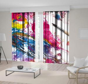 Curtain Brush Strokes Colorful pittura a olio astratta moderna su tela opere d'arte decorativa stampato Rosa Blu Giallo