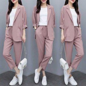 Damen Anzug Herbst neue Mode Temperament dünner Abschnitt loser Anzug elastische Taillenhosen wilde Frauen zweiteilige