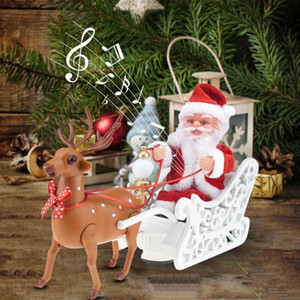 Kids Christmas Gifts Toy Electric Santa Claus Christmas Dolls Elk Sled Toy Universal Car with Music Tree Ornaments