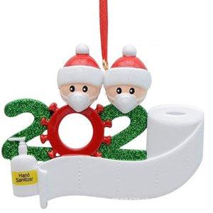 Schöne 2020 Geschenk Ornament Personalisierte Family 2 3 4 5 PVC Dekorationen Masked Schneemann Weihnachtsbaum hängen Anhänger VT1716