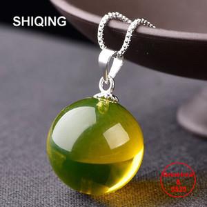Shiqing Einfachen Naturstein 5A blau amber 925 Halskette aus Sterling Silber reizend Anhänger