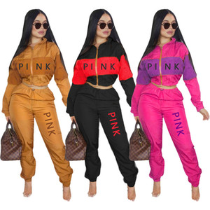 ROSE taille plus 2X automne hiver marque vêtements design femmes deux pièces ensemble pantalon haut de culture de veste à manches longues Survêtements lettre occasionnels 3853