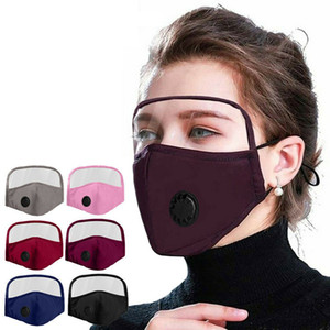 2 In 1 Face Mask With Eye Shield Dustproof Washable Cotton Valve Mask Cycling Reusable Face Mask Protective Face Shield AAB2028