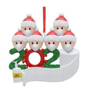 2020 Quarantaine Anniversaires de Noël Partie Décoration Cadeau Produit Personnalisé Famille de 4 ornement Pandémie Social Party Favoris