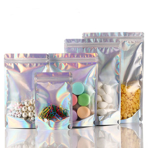 Resealable Flat Laser Color Foil Pouch Packaging Bag For Party Favor Decoration Food Sealed Storage Bags