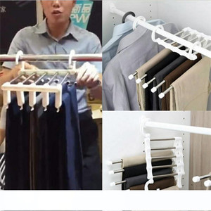 Magic Clothes Hanger Stainless Steel Tube Pants Rack Retractable Clothes Trouser Holder Storage Hanger Home Organizer