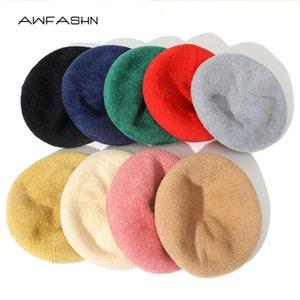 2020 Women Wool Solid Color Beret Ajustable Bonnet Caps Winter Beanie Cap Beret Hats Elegant Lady Winter Caps Fashion Femme