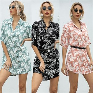 Women Dresses Casual Women Clothing Floral Printed A Line Shirt Dresses Lapel Neck Short Sleeve Single breasted