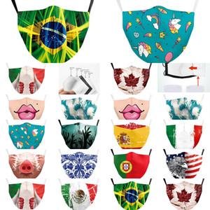 Proof Espanha Adulto Itália Máscaras máscara protetora Bandeira Forza Crianças PM25 Washable Tecido continuar lutando reutilizável Imprimir face Xtict