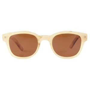 Fashion translucent semi transparent yellow jelly color handmade sheep horn frame brown travellers's sunglasses eyeglasses