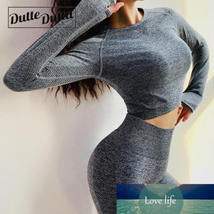 Seamless Long Sleeve Gym Crop Sport Yoga Top Blouses Womens Workout Tops Ladies Tee Shirt Femme Jersey Fitness Tshirt Woman
