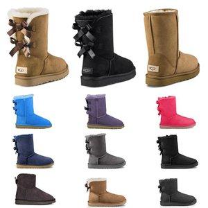 women snow winter boots shoes 2020 yeni kadın kar botları papyon üçlü siyah kestane pembe lacivert gri moda klasik ayak bileği çizme bayan kış ayakkabı g boyutu 5-10
