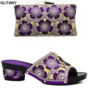 Latest Purple Color Italian Ladies Shoes and Bag Set Decorated with Rhinestone African Matching Shoes and Bags Italian In Women
